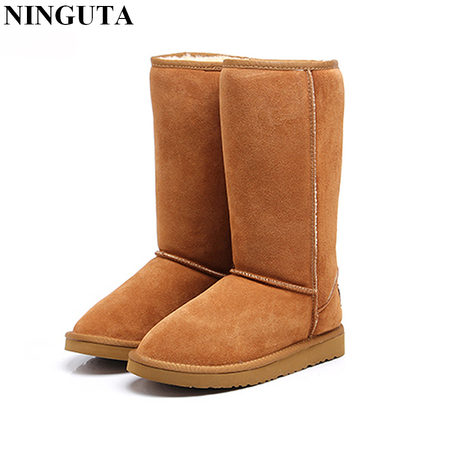 Quality Genuine Leather Knee High Women Winter Boots Snow Shoes Woman Keep Warm Plush Inside