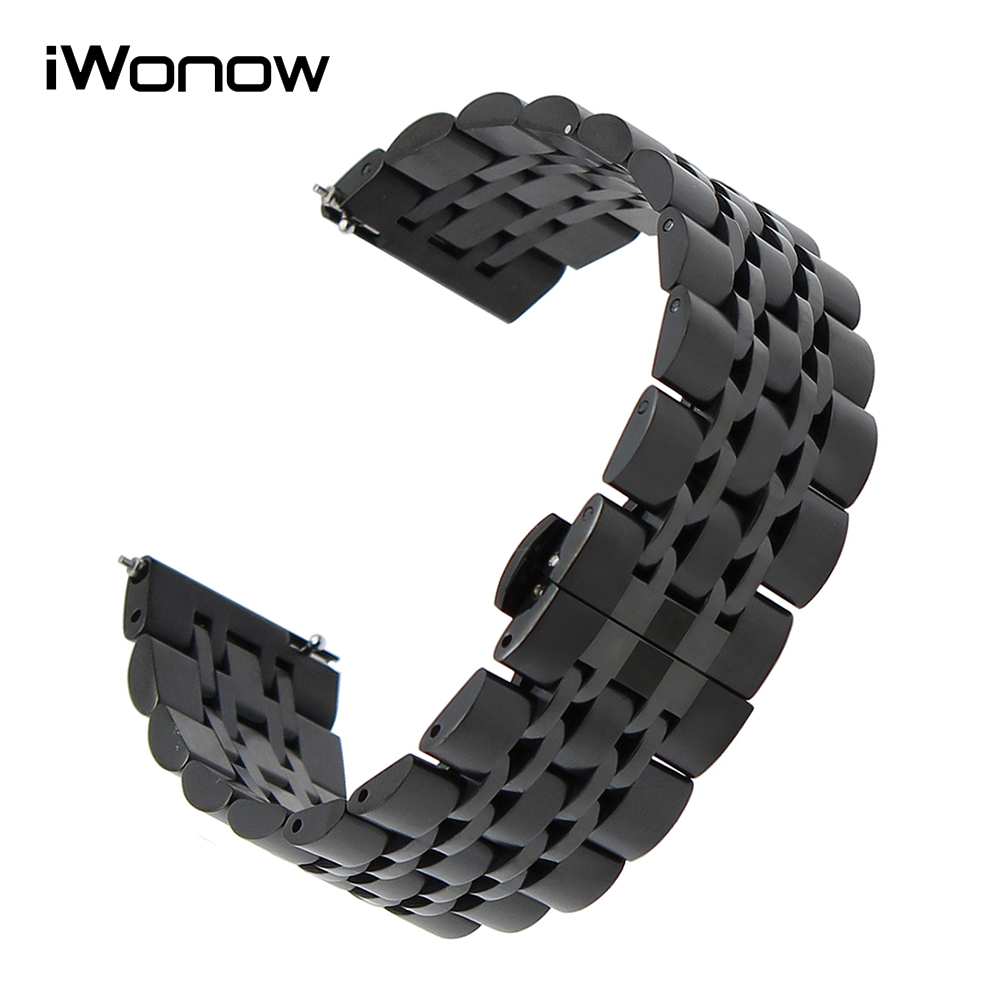 Quick Release Stainless Steel Watchband 18mm 20mm 22mm Universal Watch Band Replacement Strap Wrist Bracelet Black