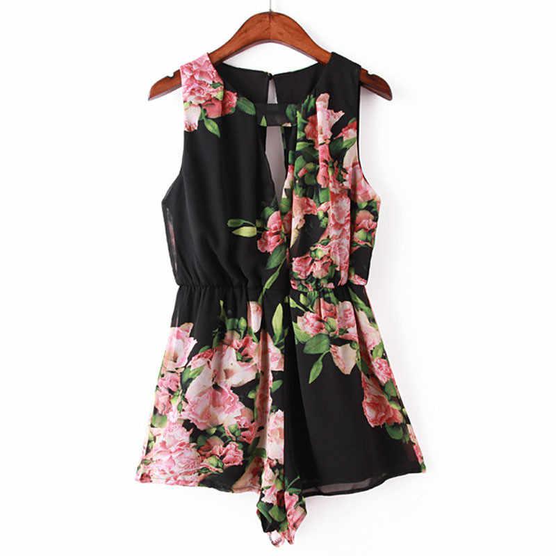 Летние женские Сексуальная без рукавов и спинки в богемном стиле цветочный комбинезон галстук-бабочка короткие брюки женские повседневные Большие размеры комбинезоны одежда #3