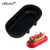 Black Cake Mold Bakeware Ellipse Shaped Baking Mousse Pan Silicone Molds For Cake Decorating Non Stick