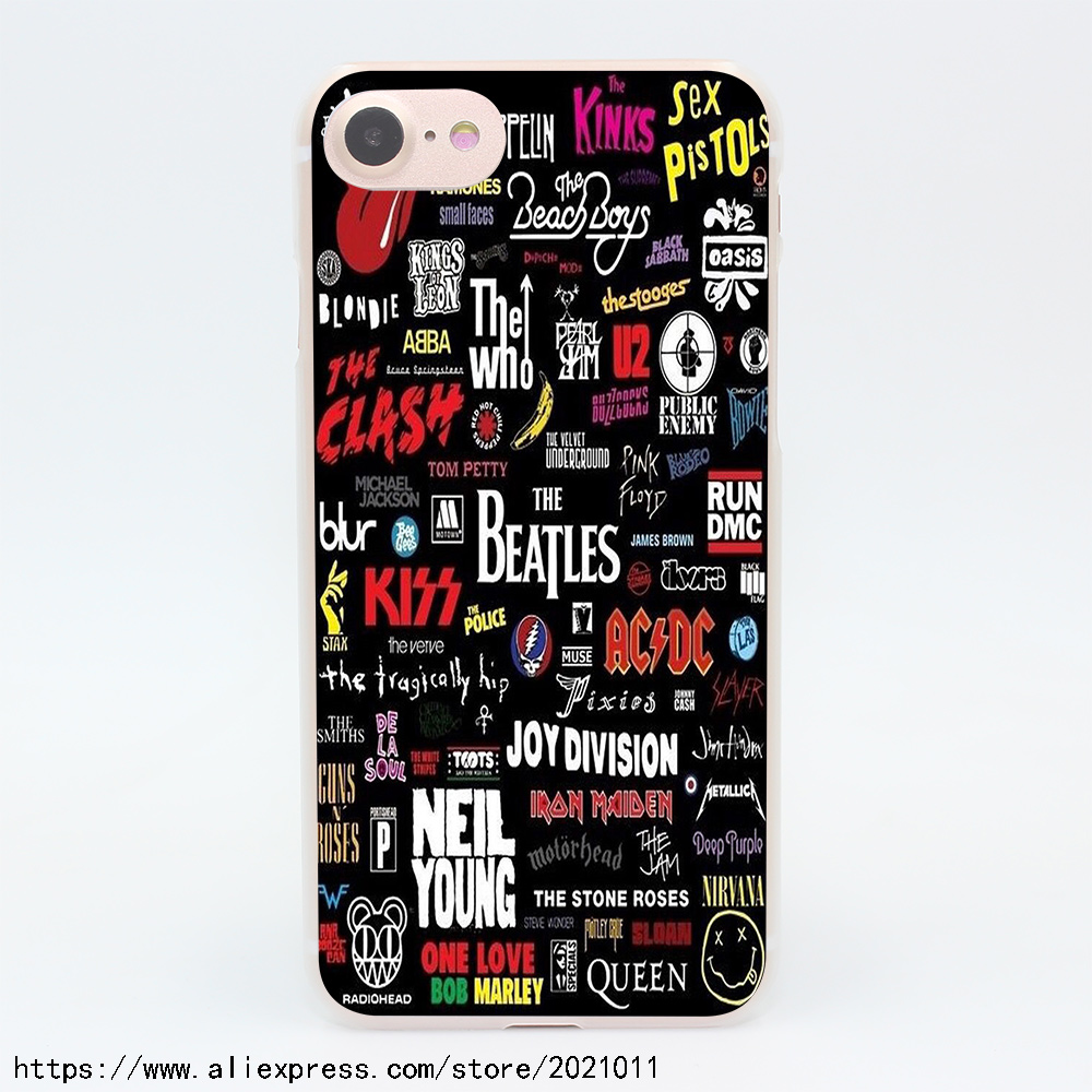1558X Rock Collage Hard Transparent Case for iPhone 7 7 Plus 6 6S Plus 5 5S SE 5C 4 4S