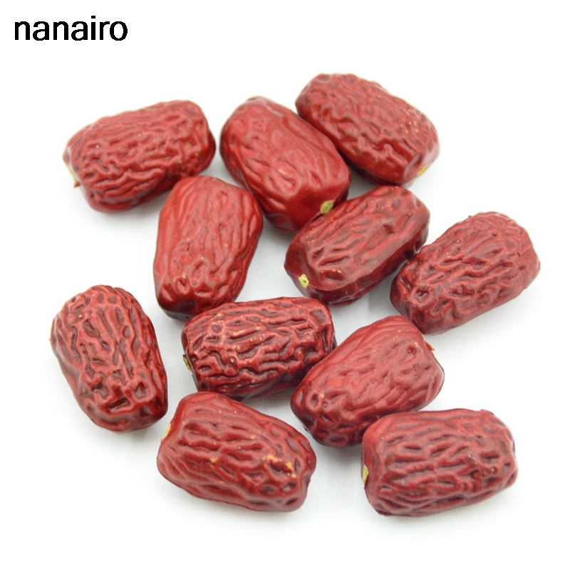 Cheap 10pcs / 3CM Artificial Plastic Simulation Red Dates Fruit And Vegetable Wedding Decoration Family Kitchen Christmas Gifts