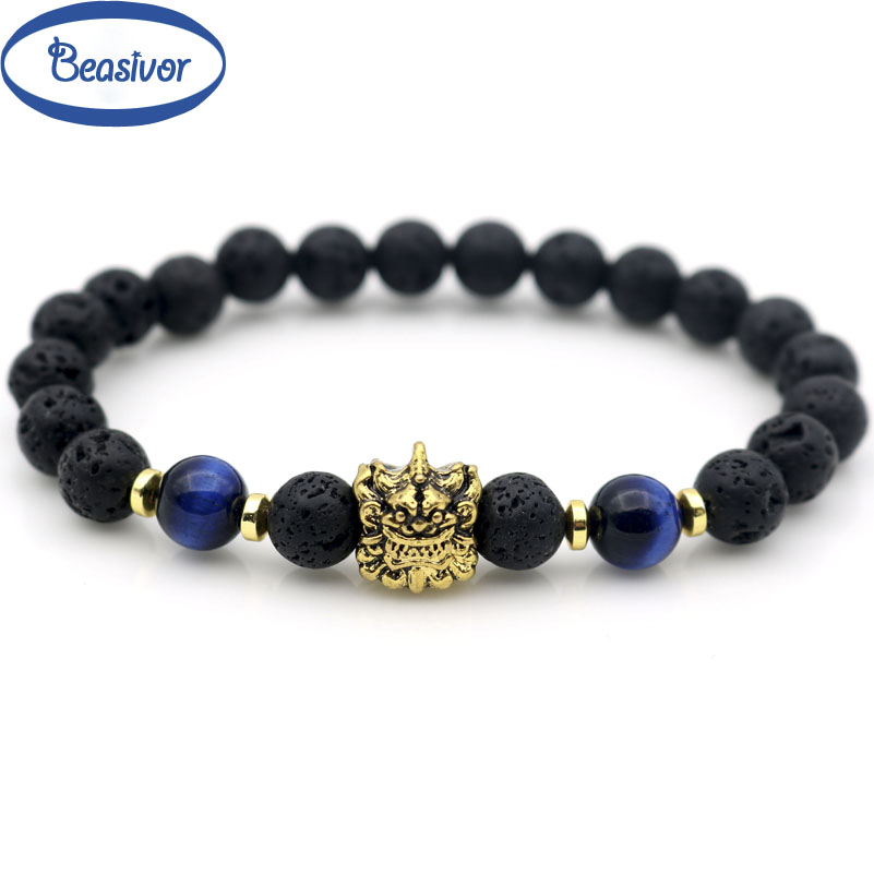 Pi Xiu Unicorn Retro Gold Money Symbol Beaded Strand Bracelets Blue Tiger-eye Stones Rock Lava Wealthy Couple Jewelry