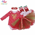 Belababy Newborn Baby Clothing set New Long Sleeve Christmas Cartoon ( Romper + TuTu Skirt + Legging + Headwear) 4pcs Girl Suit