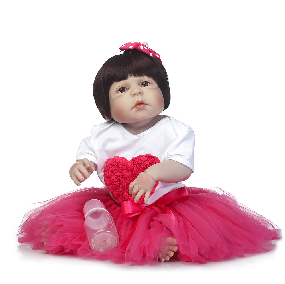 NPK 23Inch Doll Reborn Full silicone Vinyl Babies For Girls Hair Wig Realistic Alive Soft Baby Doll bonecas rebornNPK 23Inch Doll Reborn Full silicone Vinyl Babies For Girls Hair Wig Realistic Alive Soft Baby Doll bonecas reborn