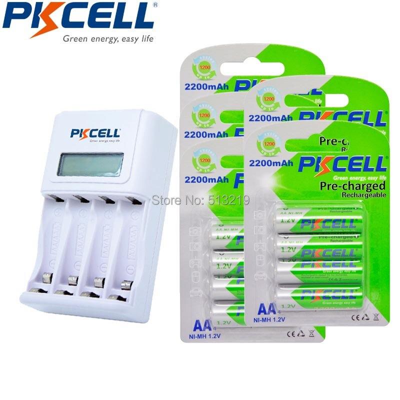 20Pcs/5Card AA 2200mAh 1.2V Ni-MH Rechargeable Battery and Standard Fast Battery EU/US Plug Charger 8152 trustfire rechargeable 1 2v 2700mah ni mh aa battery blue white 4 pcs