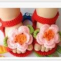 2016 Meias Bebê Recém-nascido Primavera e No Outono Princesa Tricô Bonito Dos Desenhos Animados Handmade Crochet Flor Sapatos de Bebê