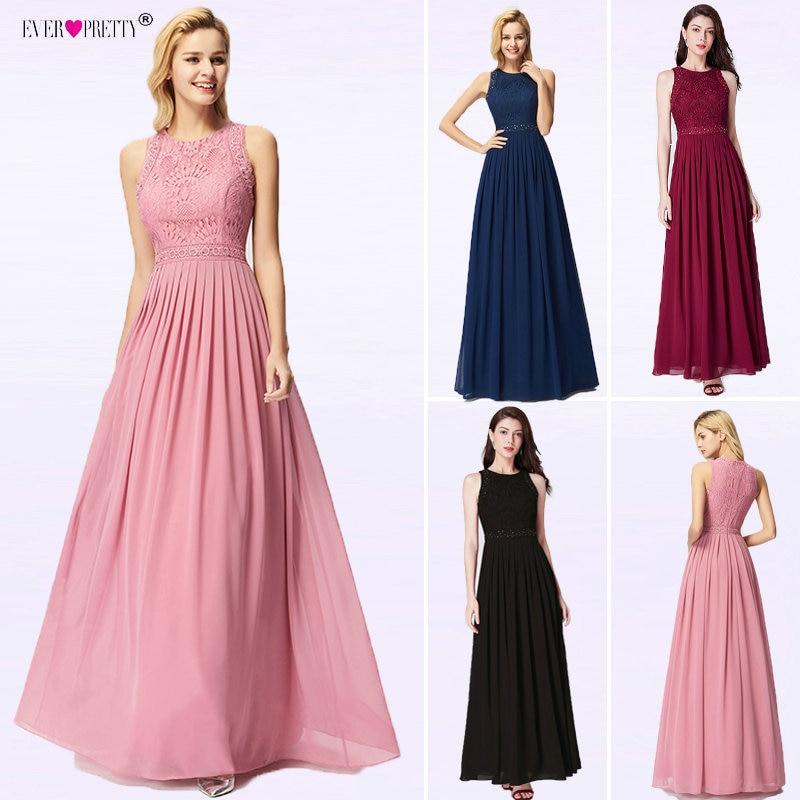 Robes de soirée longues 2019 Ever Pretty élégant perles une ligne plissée en mousseline de soie dentelle robe formelle robe de soirée EP07391 robe de soirée