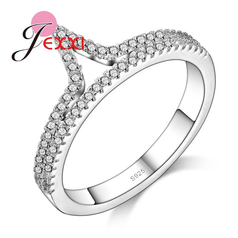 JEXXI Треугольники Дизайн ясно микро CZ Кристалл штампованные стерлингового серебра 925 Свадебные Обручение полосы кольца для женщины Promise Ring