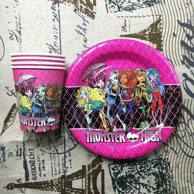 Monster High Theme printed paper cups +7inch paper plates tableware for birthdayevent party & Monster High Theme printed paper cups +7inch paper plates tableware ...