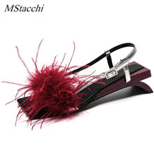 Mstacchi Summer Women Sandals A Word Type Strap Strange Heel True Feather Sandals Ornaments Alien Heel Ladies Party Shoes Woman(China)