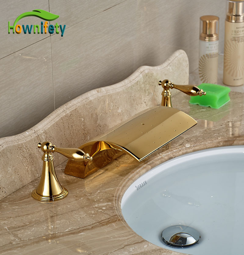 New Arrival Golden Finish Bathtub Faucet Double Handles Tap Mixer Faucet 3pcs
