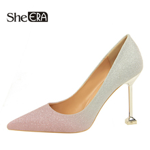 Купить с кэшбэком Women Pumps Gradient Shoes High Heels Sexy Pointed Toes Wedding Shoes Woman Stiletto Heel Office Lady Dress Shoes Casual Evening