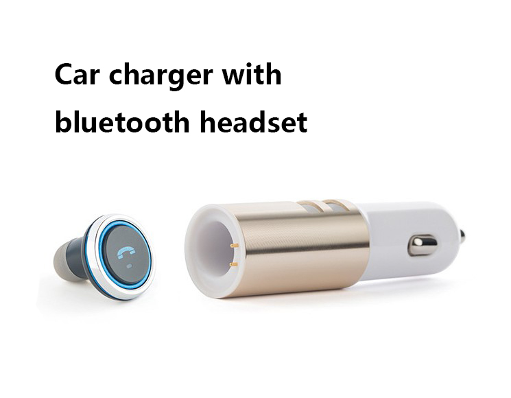 Wholesale 2 In 1 Bluetooth Earphone Headset + Car Charger Dual-port Car USB Power For Andriod IOS Smartphone Tablet Smart Watch mini bluetooth earphone with car charger 2 in 1 driver kobwa bluetooth 4 0 headset earphone for iphone 7 6s android smartphone