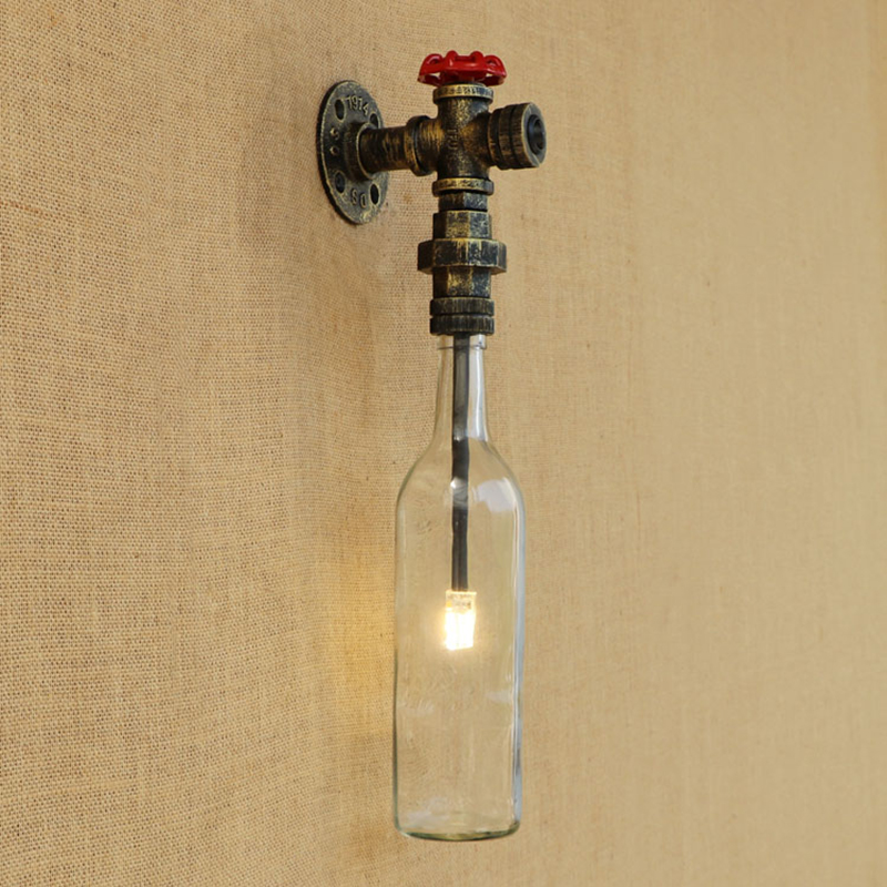 Industrial LED wall lamp Glass shade iron rust Bathroom wall light with G4 light bedroom light foyer study decoration Sconce