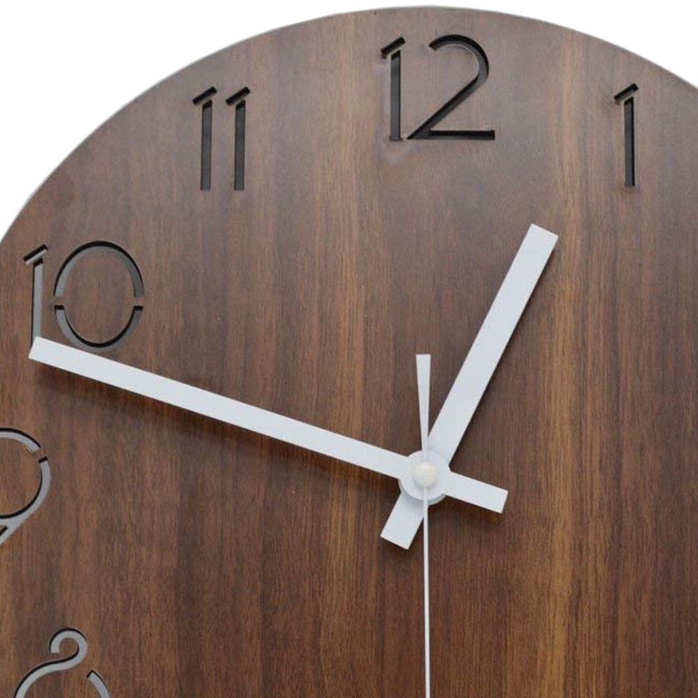 12 inch Creative Wall Clock Vintage Arabic Numeral Design Rustic Country Tuscan Style Wooden Decorative Round Wall Clock 12