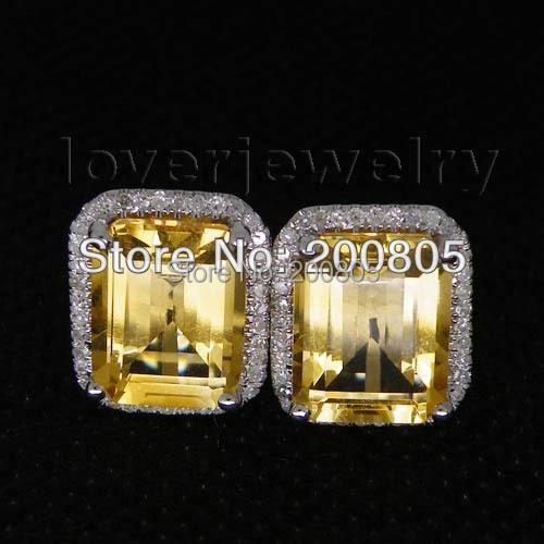 Vintage Emerald Cut 8x10mm 14Kt White Gold Diamond Citrine Earrings,585 White Gold Earrings For Sale E0003