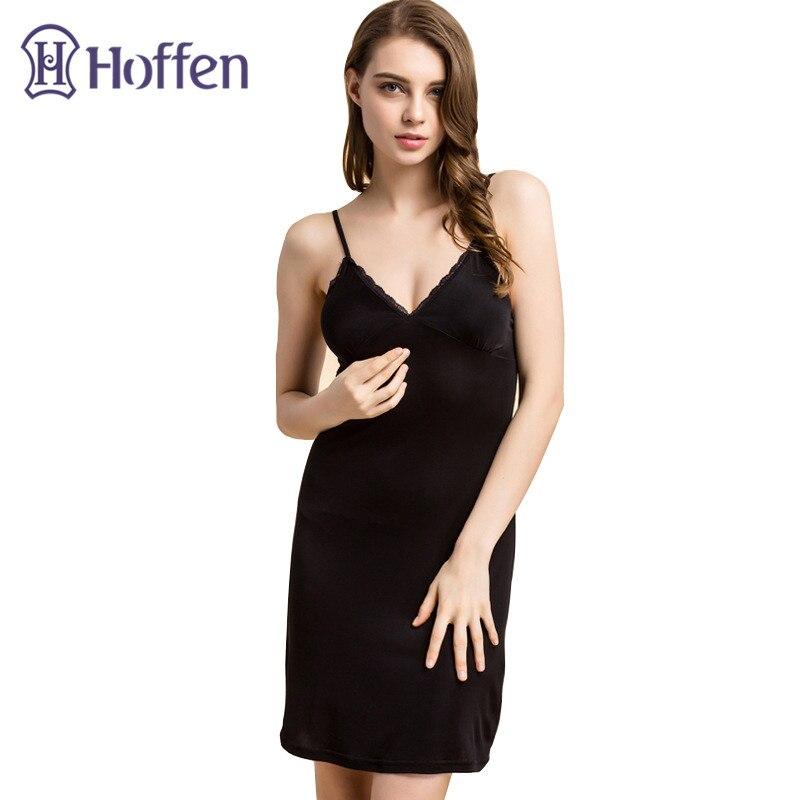 Hoffen Femmes Pleine Soie Glisse avec Soutien-Gorge Sexy Col V Remise En Forme Jupon De Soie 100% Soie Glisse Robe Féminine Lingerie WS127