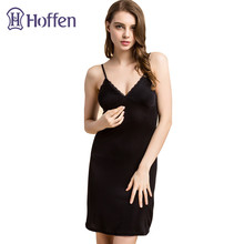Hoffen Womens Full Silk Slips with Bra Sexy V-neck Fitness Silk Petticoat 100% Silk Slips Dress Female Lingerie WS127