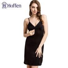 Hoffen Womens Full Silk Slips with Bra Sexy V-neck Fitness Silk Petticoat 100% Silk Slips Dress Female Lingerie WS127