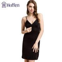 Hoffen Womens Full Silk Slips with Bra Sexy V neck Fitness Silk Petticoat 100% Silk Slips Dress Female Lingerie WS127