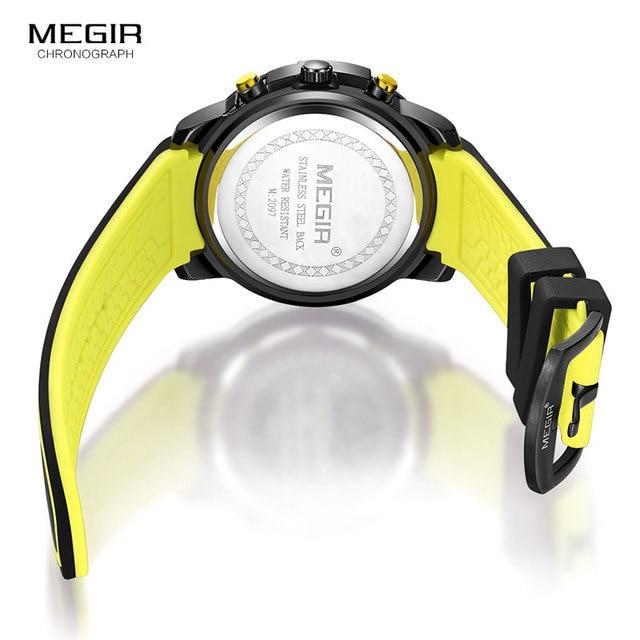 Megir Men's Black Silicone Strap Quartz Watches Chronograph Sports Wristwatch for Man 3atm Waterproof Luminous Hands 2097 Yellow 6