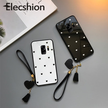 Luxury Tempered Glass Case For Samsung Galaxy S20 Ultra S8 S9 Plus S10 Lite Tassel Lanyard Love Heart Cover For Samsung Note 8 9