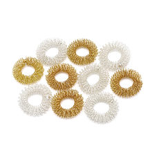 1PC Body Finger Massage Ball Rings Acupuncture Ring Health Care Gold/Silver Plated Cool For Body Massage Dropshipping(China)