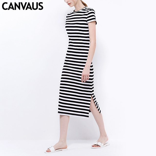 df4b6e70ab8 CANVAUS New Summer Women Cotton Black White Striped Solid Slim Casual Sexy Short  Sleeve Mid-calf A-Line Dress K1038A