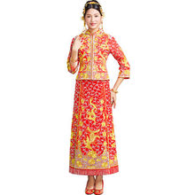 China Wedding Dragon gown bride wedding dress Oversea chinese style costume Phoenix cheongsam evening dress Unique show clothing spring and summer clothing xiu he chinese red wedding dress bride cheongsam phoenix gown chinese fashion show kimono outfit