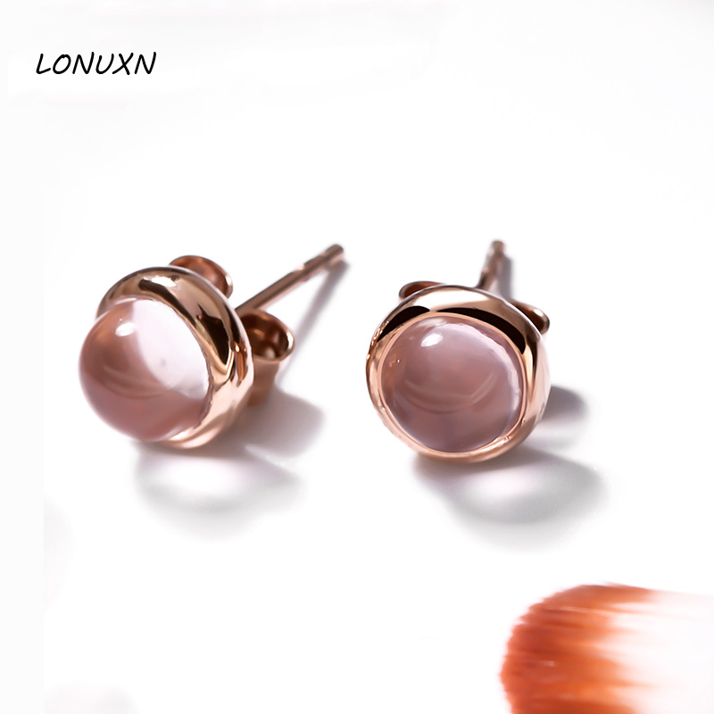 0.8cm Natural semi-precious stones pink chalcedony crystal High quality female jewelry girlfriend gift lunar round cute Earrings lunar a3 pink