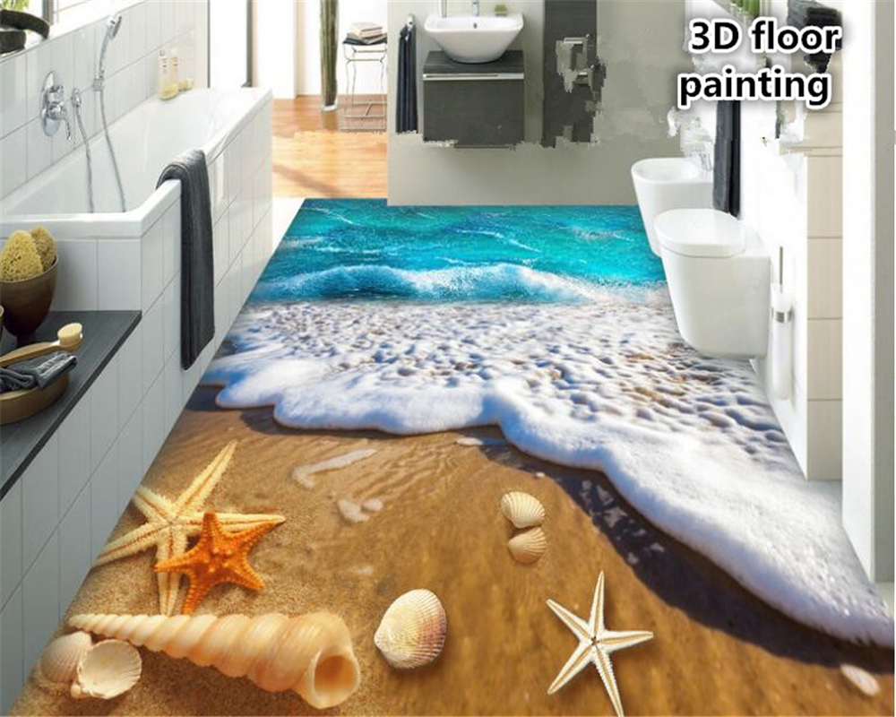 beibehang Advanced Aesthetic Decorative Painting Wallpaper Lonely Beach Shell 3D Fantastic 3d flooring wallpaper for walls 3 d