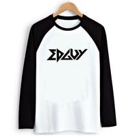 Power Metal Edguy Print Long Sleeve T Shirt Black White Raglan Women Loose Tshirt Swag Clothes