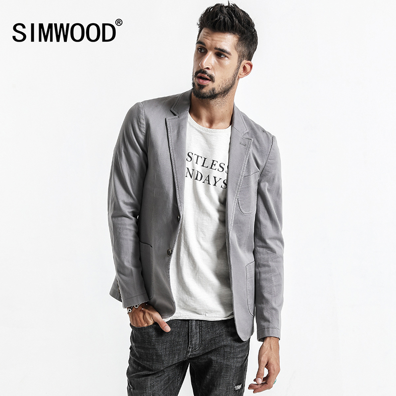 Simwood 2019 nuevo diseñador Blazers hombres moda traje de punto hombres Casual Slim Fit Blazer chaqueta para hombres envío gratis XZ017007-in chaqueta de deporte from Ropa de hombre    1