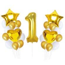 цена 25pcs/set Kids 1st Birthday Balloons Number 1 Foil Balloon Baby Shower Boy Girl 1 Year Old Birthday Party Decor Latex Ballons в интернет-магазинах