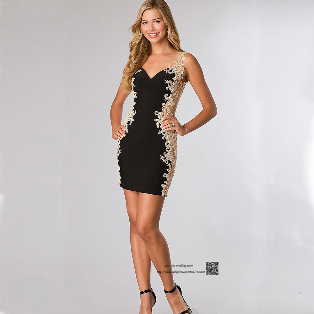 Popular Black Gold Cocktail Dresses-Buy Cheap Black Gold Cocktail ...