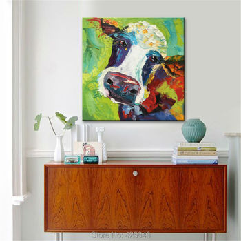 Canvas plattle knife painting Cow acrylic painting Wall Art Pictures For Living Room home decor quadros caudros decoracion001 фото