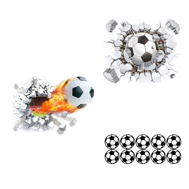 Soccer Series 3D Wall Stickers Removable Self-adesive DIY Wall Decal Mural for Bedroom L ...
