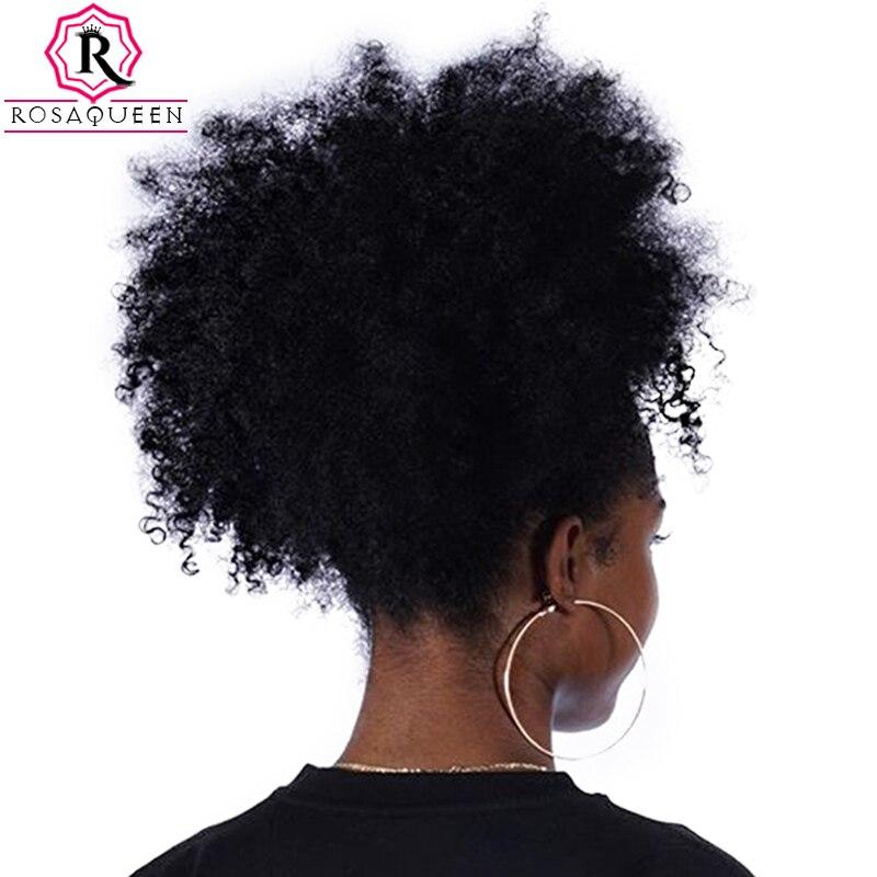 Rabo de Cavalo Para As Mulheres Natural Preto Remy Cabelo Afro Crespo Encaracolado 1 pedaço Grampo Em Rabos de Cavalo 100% Cabelo Humano Rosa Rainha Produtos para o Cabelo
