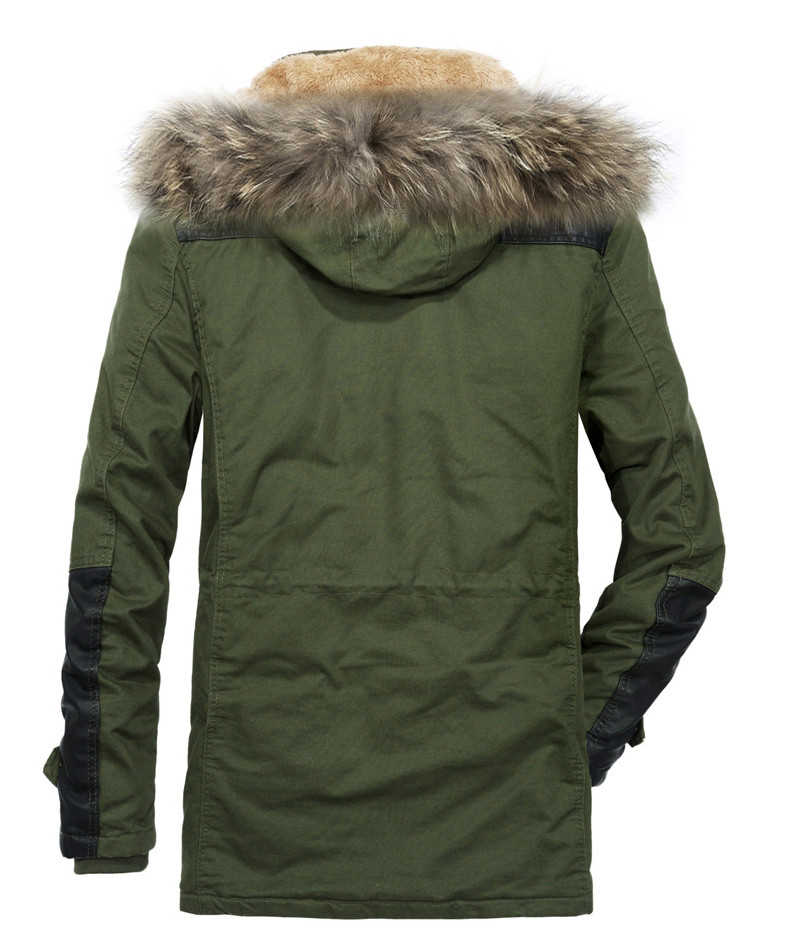 JOOBOX 新冬の中 · 長期フード付きウインドブレーカー男性ファッション毛皮の襟綿 100% ジャケット厚み男性のパーカー暖かい上着