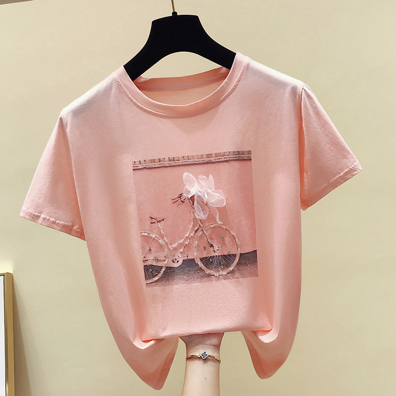 Sequined 3D Printed Women's T-shirt Tops White Pink Short Sleeve Female Summer Tshirts 2020 Casual Fashion Ladies Loose T Shirts