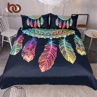 BeddingOutlet Dreamcatcher Bedding Set King Colorful Feathers Duvet Cover Bohemian Mandala Bedclothes 3pcs Black Home Textiles