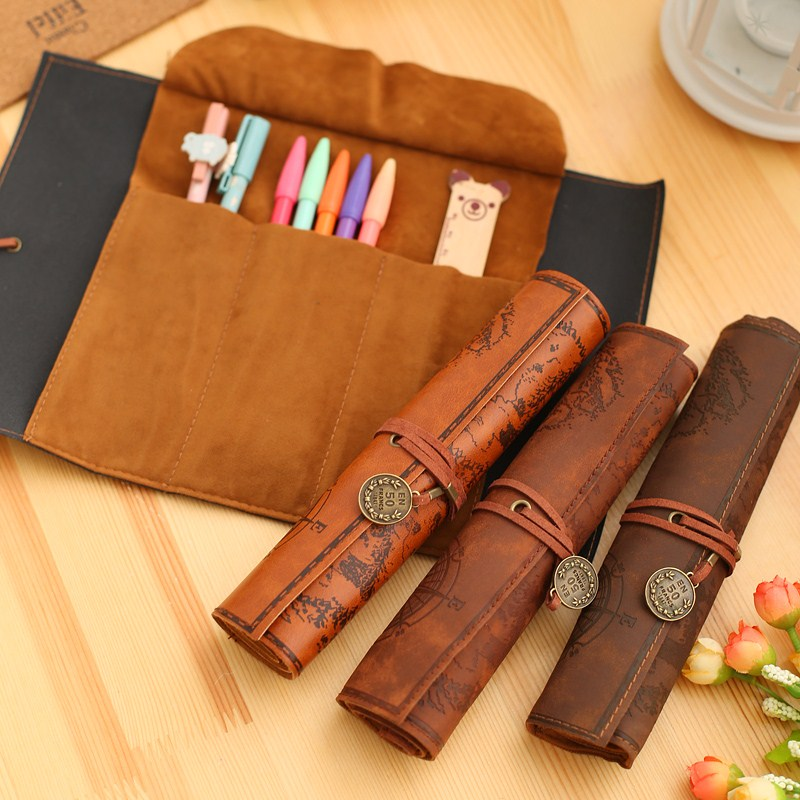 1PCS PU Leather Creative Retro Luxury Treasure Map Pencil Cases Roll Pen Bag Pouch For Stationery Supplies Cosmetic Bag 04991