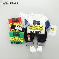 赤ちゃんカジュアル男の子服セット新しい春秋モデル韓国スマイリー子供の綿長袖シャツ+パンツ服セッ