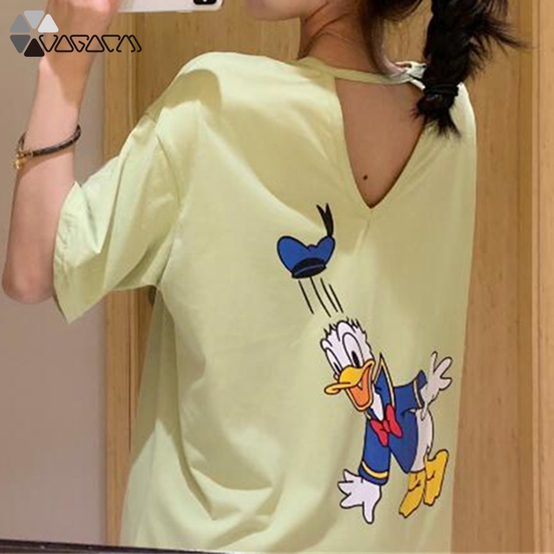 2019 New Women Donald Duck Casual Summer Dress Fashion Loose Short Sleeve Letter Print Party Club Plus Size Dress in Dresses from Women 39 s Clothing