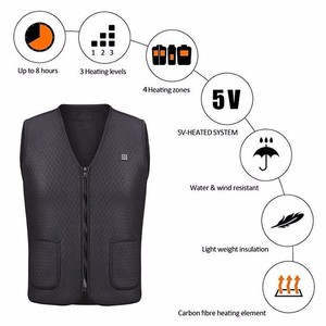 Image 5 - 男性女性屋外 usb 赤外線加熱ベストジャケット冬柔軟な電気熱衣類ウエストコートノースリーブ保温
