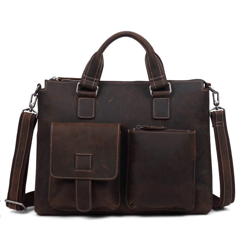 Business Casual multifunction Genuine Leather Briefcase Men Laptop Soft Cowhide Messenger Bag Handbag Solid color Quality Bag цена