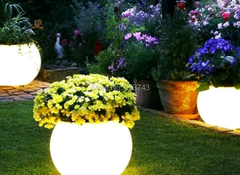 Waterproof Multi-color Illuminated Champagne Cooler LED Ellipse Ice Bucket,RGBW Led Glowing Sphere Flower Pot Planter Outdoor
