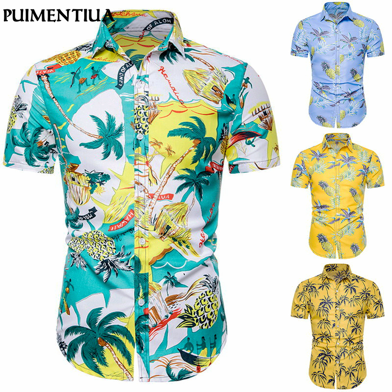 Puimentiua Print Shirts Short-Sleeve Button-Down Slim-Fit Holiday Casual Men's Fashion