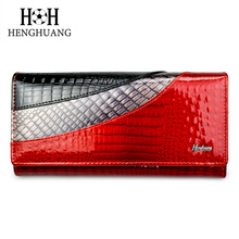 Купить с кэшбэком HH Luxury Genuine Leather Women wallets Alligator Clutch Pruses Ladies Vintage Hasp Crocodile Long Purse Cion Bag